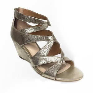 Isola Filisha metallic leather cage wedge heels